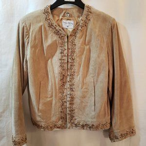 Pamela McCoy Ladies Tan Suede Embellished Jacket
